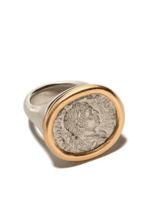 Hum engraved signet ring - 22KT YELLOW GOLD SILVER