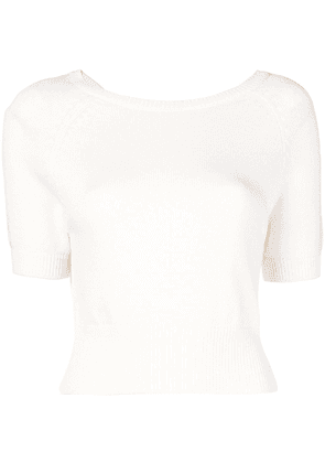 Cashmere In Love cropped knitted top - White