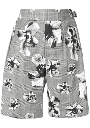 Neil Barrett prince of wales floral shorts - Grey