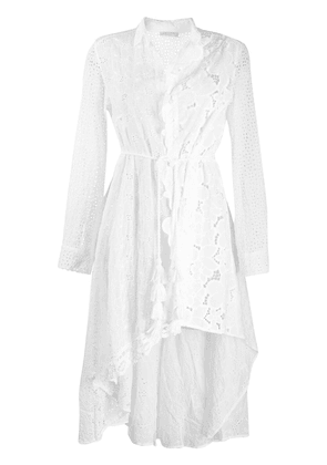 Anjuna asymmetric broderie anglaise shirt dress - White
