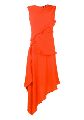 Sies Marjan Helena ruffle trim asymmetric dress - ORANGE