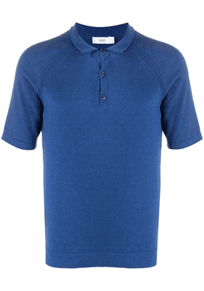 Closed knitted polo shirt - Blue