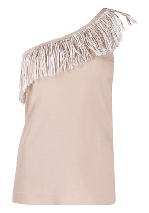D.Exterior one-shoulder fringe-embellished tank top - NEUTRALS