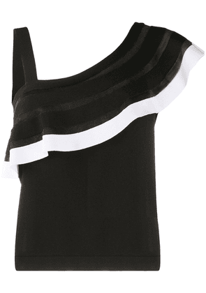 D.Exterior ruffle trim knitted top - Black