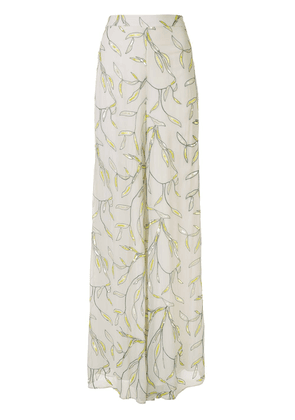 Alexis embellished leaf palazzo trousers - White