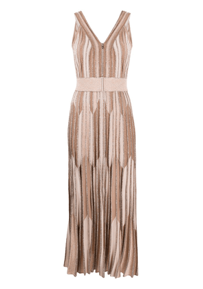 D.Exterior metallic knitted long dress - NEUTRALS