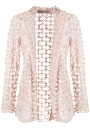 D.Exterior embroidered sheer blazer - NEUTRALS