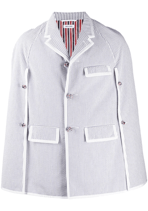 Thom Browne Seersucker Raglan Chesterfield Cape - Blue