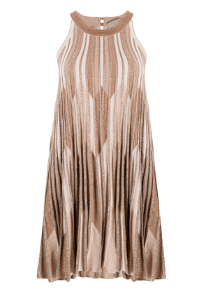 D.Exterior lurex knit flared mini dress - NEUTRALS