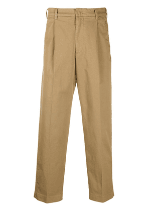 Barena pleat-detail cropped trousers - Brown