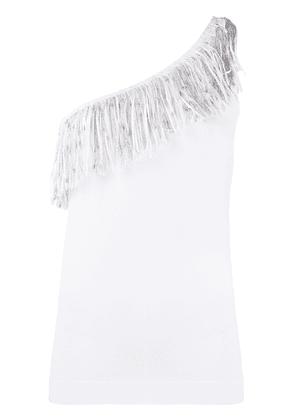D.Exterior fringed asymmetric top - White