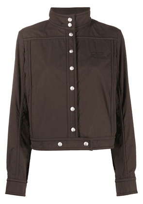 Courrèges logo embroidered cropped jacket - Brown