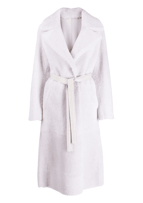 Blancha reversible belted coat - White