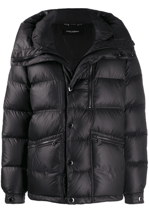Dolce & Gabbana oversized collar padded jacket - Black