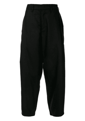 Attachment high-rise tapered trousers - Black