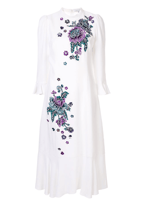 Andrew Gn embroidered floral midi dress - White