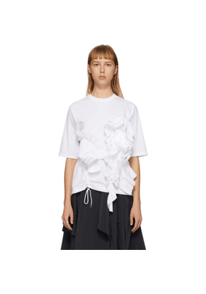 Enfold White Soft Decorative Pleated T-Shirt