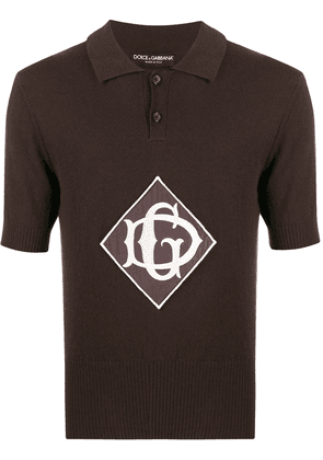 Dolce & Gabbana monogrammed knitted polo shirt - Brown