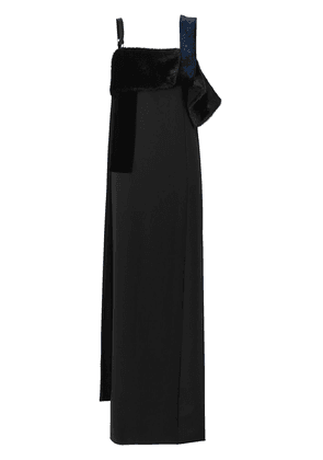 Burberry faux fur detail panelled silk and velvet gown - Black