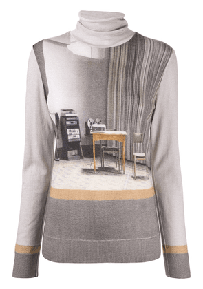 Undercover graphic print mock neck jumper - Brown