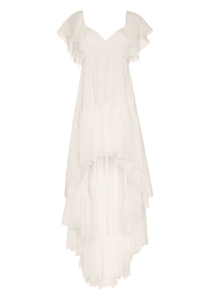 Giambattista Valli draped ruffled dress - White