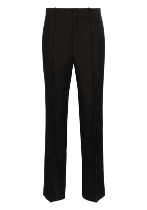 Gucci GG-embroidered wool and silk-blend slim-fit trousers - Black