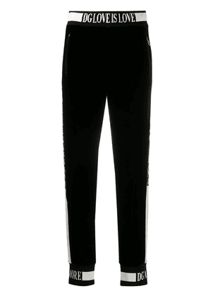 Dolce & Gabbana Love is Love velvet track pants - Black