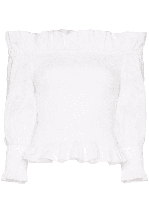 Chufy off-the-shoulder smocked top - White