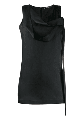 Neil Barrett draped neck satin blouse - Black