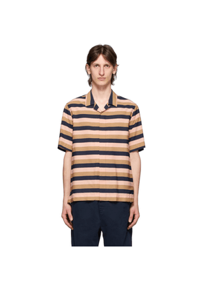 Paul Smith Pink and Brown Wide Striped Short Sleeve shirt