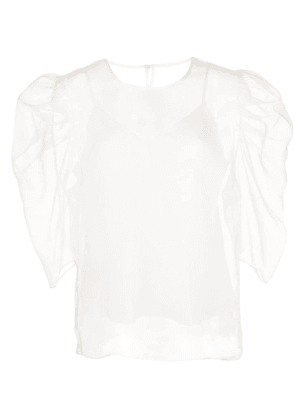 Cinq A Sept Erin gathered sleeve blouse - White