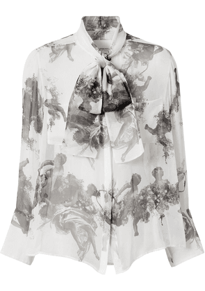 Burberry Angel print pussy-bow blouse - White