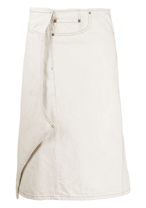 Maison Margiela asymmetric wrap denim skirt - White