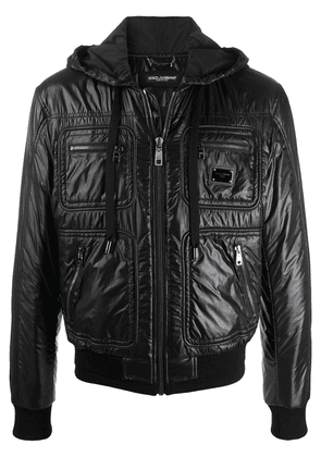 Dolce & Gabbana logo plaque padded jacket - Black
