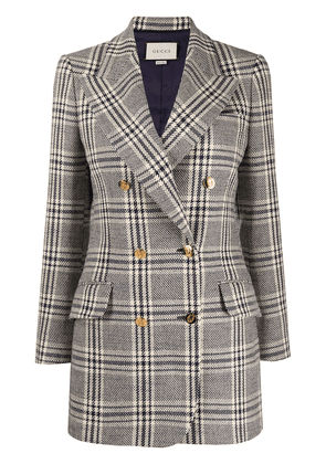 Gucci checked double-breasted blazer - Blue