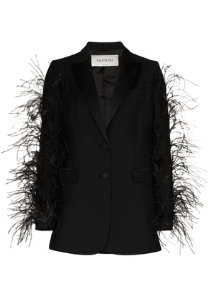 Valentino feather-sleeve blazer jacket - Black