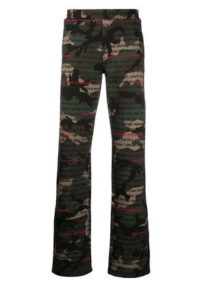 Valentino camouflage handwriting-print track pants - Green