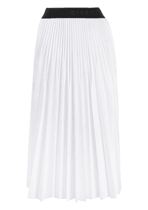 Givenchy logo waistband pleated skirt - White