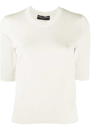 Dolce & Gabbana half sleeves knitted top - White