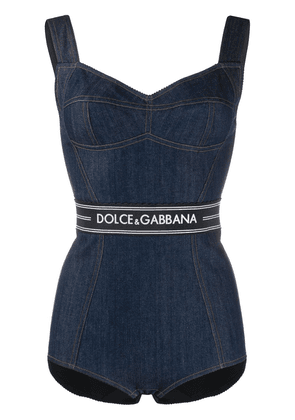 Dolce & Gabbana logo denim bodysuit - Blue