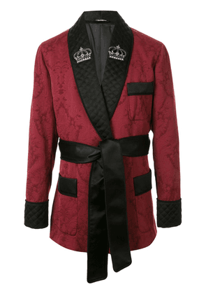 Dolce & Gabbana jacquard-knit belted robe jacket - Red