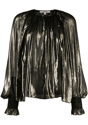 Derek Lam 10 Crosby Helena Pleated Silk Lame Blouse - Black