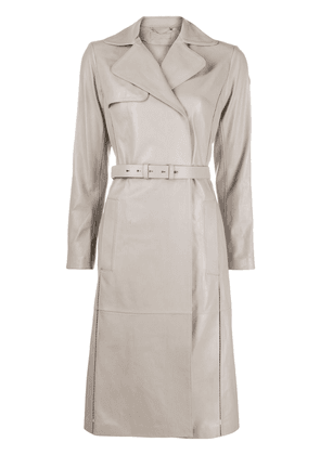 Desa 1972 belted leather trench coat - Grey