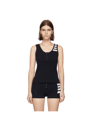 Thom Browne Navy 4-Bar Stripe Button Placket Tank Top