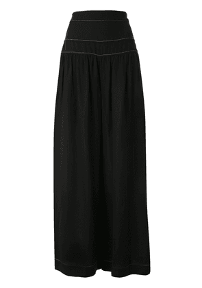 Ginger & Smart contrast-stitching wide-leg trousers - Black