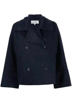 Loewe double breasted boxy peacoat - Blue