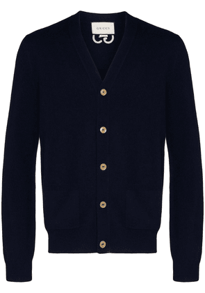 Gucci GG-embroidered cashmere cardigan - Blue