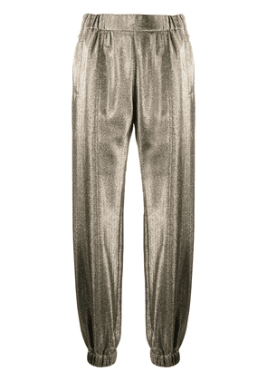 Saint Laurent metallic-effect tapered trousers - GOLD