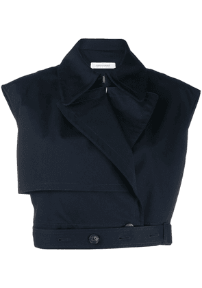 Cédric Charlier cropped fitted top - Blue