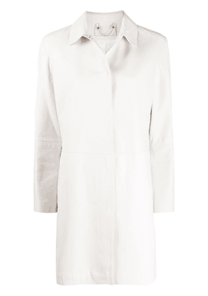 Desa 1972 leather straight fit coat - White